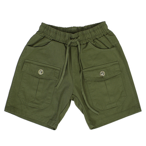 Waistband Front Cargo Pocket Cotton Shorts