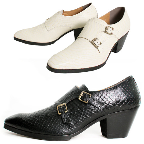 7cm High Heel Snake Pattern Monk Strap Handmade Shoes 5083
