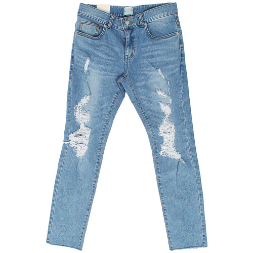 Heavy Distressed Ripped Cut Off Blue Skinny Jeans 5047
