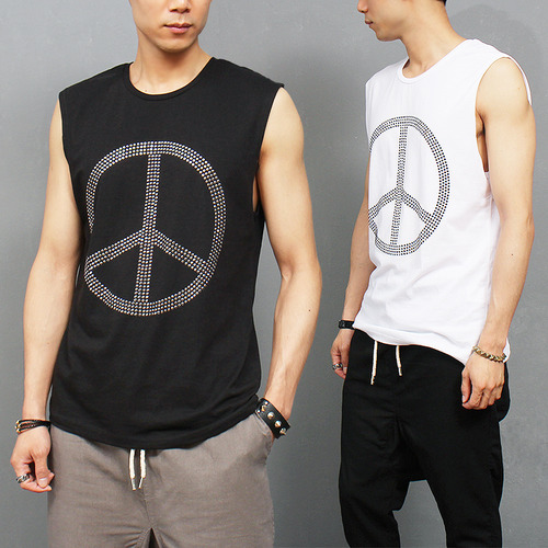 Street Fashion Shiny Strass Peace Logo Tanks White