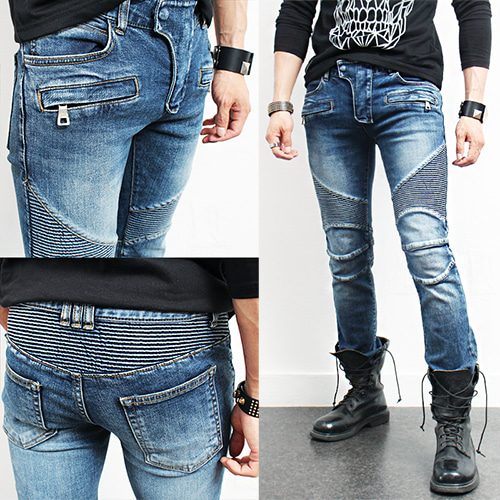 Designer Paneling Zippered Bikers Blue Skinny Jeans 901