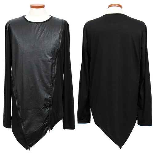 Avant garde Diagonal Double Zipper Unbalanced Tee