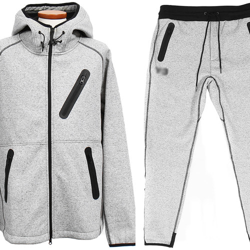Multi Zipper Hood Gym Wear Set Sweatshirt Sweatpants