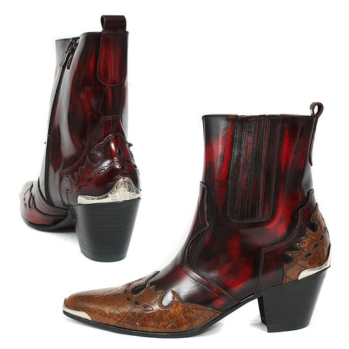 Western Style Handmade Leather High Heel Ankle Boots 4714