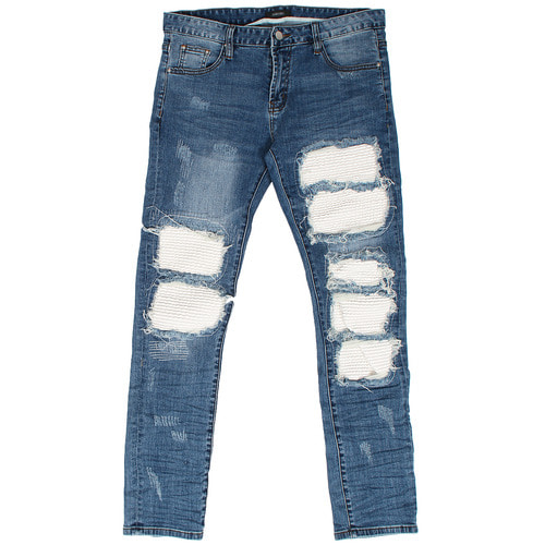 Ribbed Leather Seaming Destroyed Blue Jeans