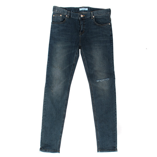 Knee Cutting Faded Slim Blue Jeans 1061