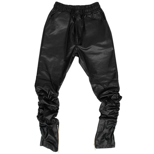 Faux Coated Leather Shirring Zipper Leg Sweatpants