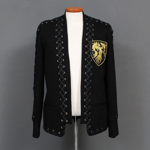 Phoenix Patch Eyelet Lace Open Front Blazer Jacket