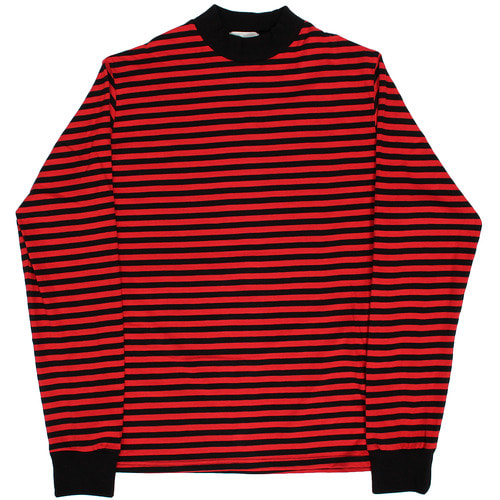 Ribbed High Neck Striped Long Tee