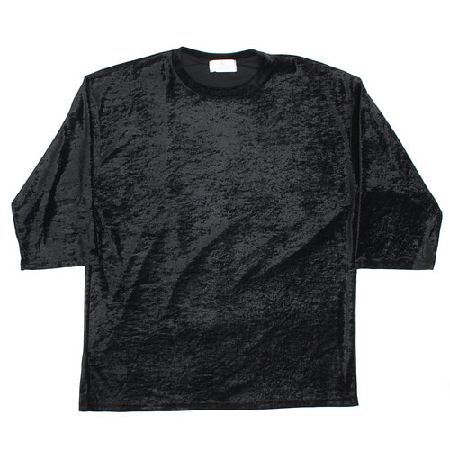 Loose Fit Synthetic Velvet 3/4 Sleeve Tee