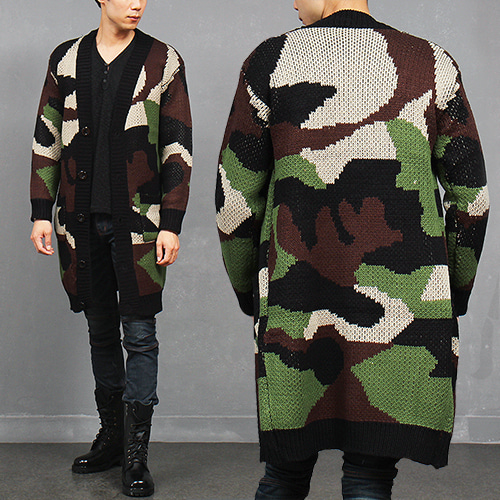 Camouflage Knit Long Coat Cardigan