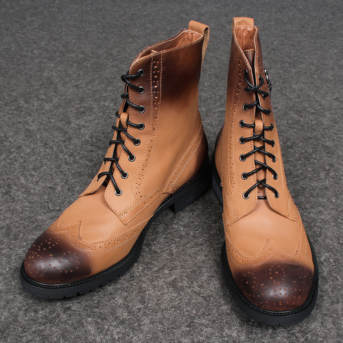 Tanned Brown High Top Brogue Boots XC-051