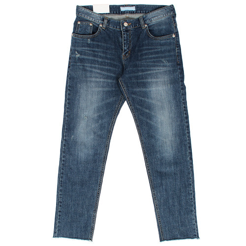 Cut Off Hem Faded Slim Blue Jeans 1066