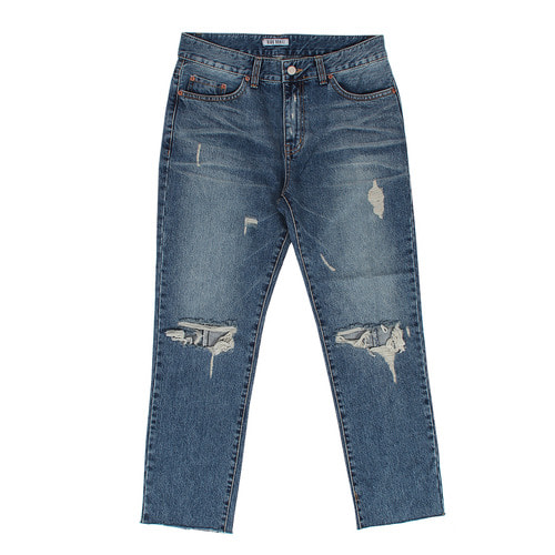 Semi Baggy Ripped Knee Cut Off Blue Jeans D019
