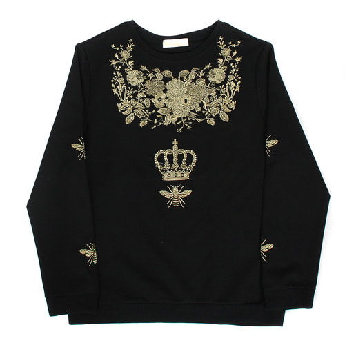 Embroidered Gold Flower Crown Sweatshirt