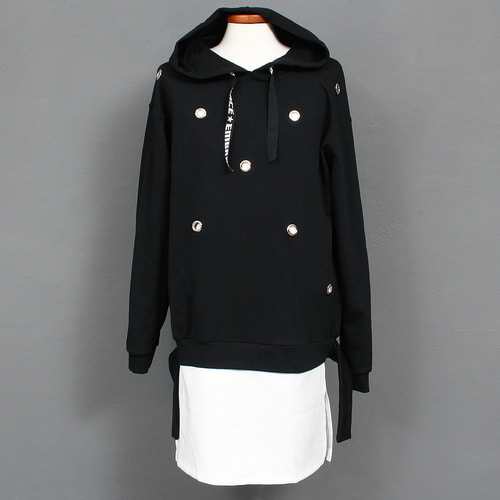 Eyelet Split Side Layered Cut Hem Hoodie