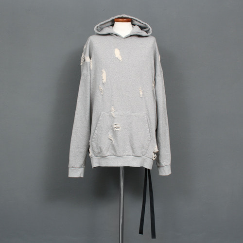 Loose Fit Vintage Distressed Webbing Strap Hoodie