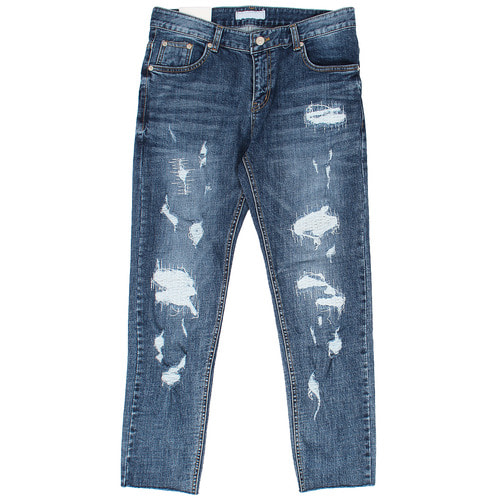 Vintage Heavy Distressed Cut Off Slim Jeans 1069
