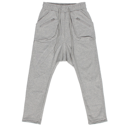 Drop Crotch Zipper Pocket Baggy Sweatpants