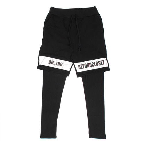 Logo Printing Leggings Layered Half Sweatpants