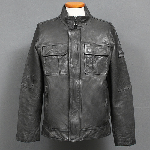 Flap Pocket Real Leather Gray Rider Jacket
