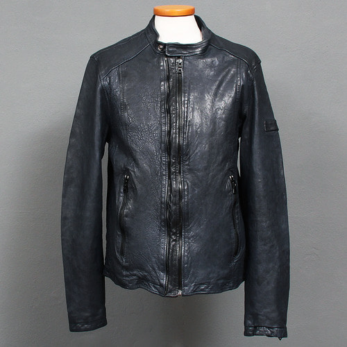 Double Zipper Band Collar Dark Blue Leather Rider Jacket