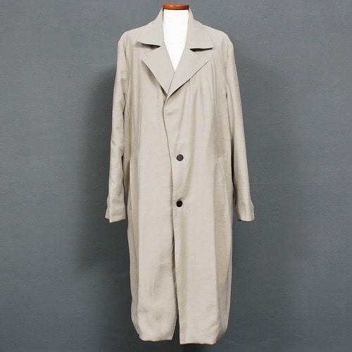 Loose Fit Notched Lapel Collar Two Button Long Coat