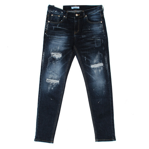 Vintage Painted Distressed Deep Blue Slim Jeans 1077