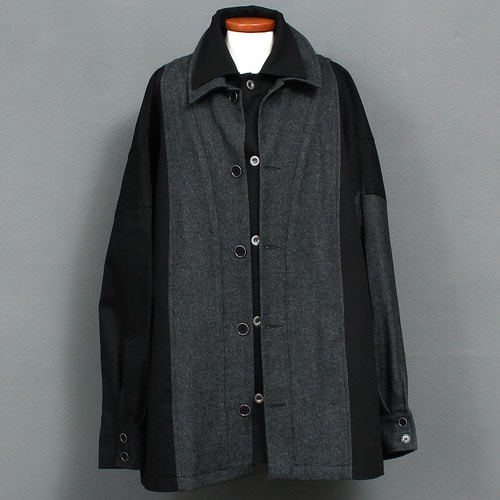 Double Collar Layered Button Up Loose Fit Boxy Jacket