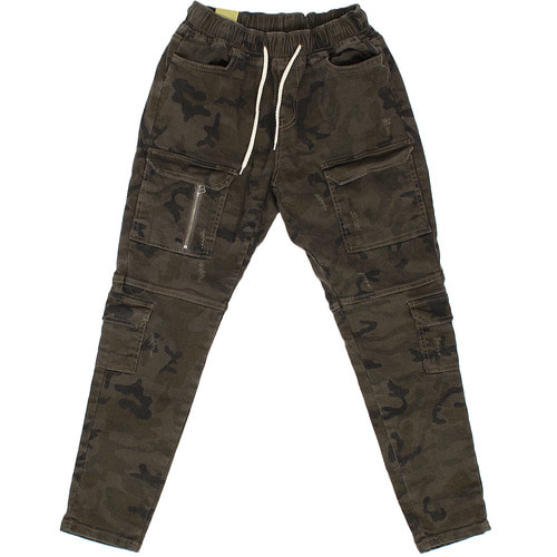 Military Camouflage Zipper Cargo Pocket Waistband Pants P383