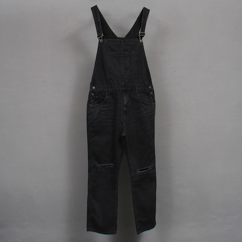 Vintage Distressed Black Denim Overalls 8815