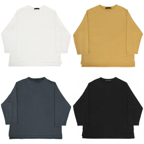 Big Over Loose Fit Split Side Boxy Tee [Mustard]