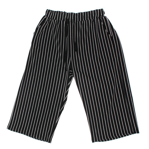 Loose Fit Elastic Waistband Striped Wide Pants