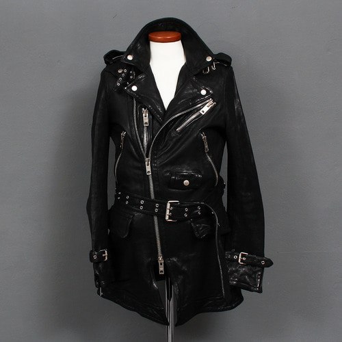 Zipper Buckle Belted Riders Black Leather Coat