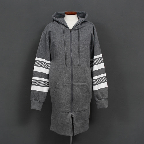 Stripe Split Side Fleece Long Hood Zip Up Sweat Jacket
