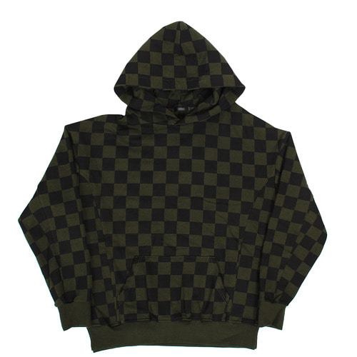 Check Pattern Split Side Boxy Long Hoodie