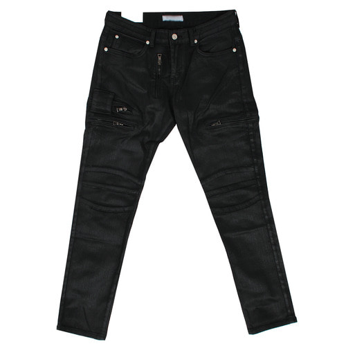 Wax Coated Multi Zipper Pocket Biker Slim Jeans 1080