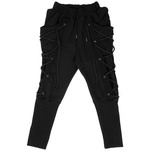 Avant garde Eyelet Lace Up Long Ribbed Hem Slim Sweatpants