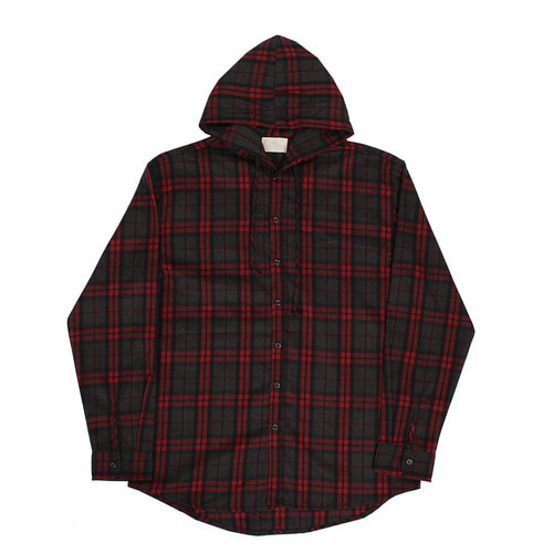 Checkered Pattern Hooded Wool Shirt