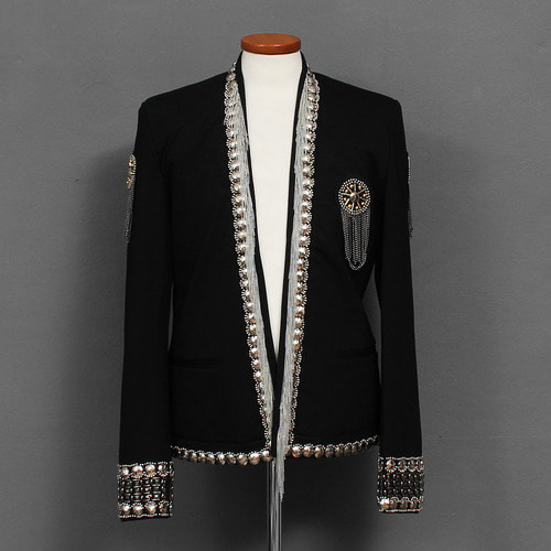 Slim Fit Shiny Beaded Blazer Jacket