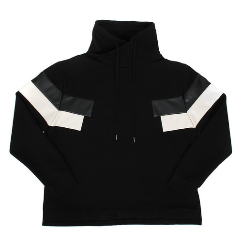 High Turtle Neck Contrast Leather Fleece Tee
