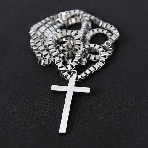 Square Shaped Link Chain Steel Cross Necklace N77