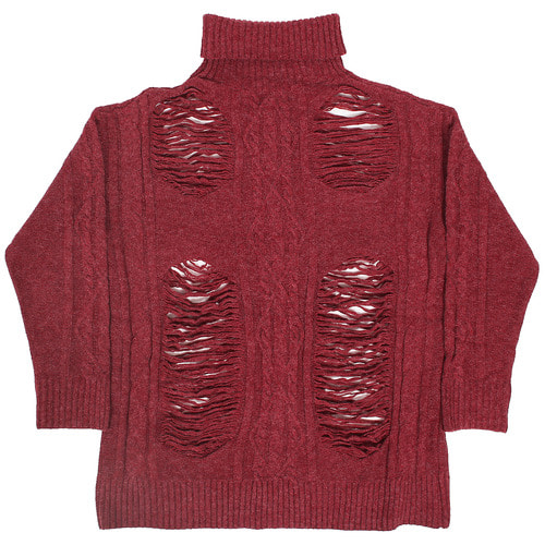 Vintage Heavy Distressed Cut High Neck Knit Jumper