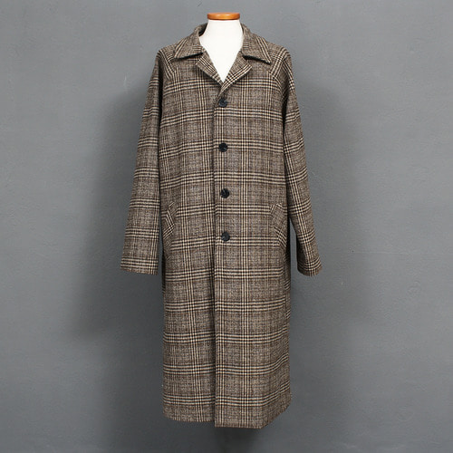 Loose Fit Check Pattern Single Long Coat