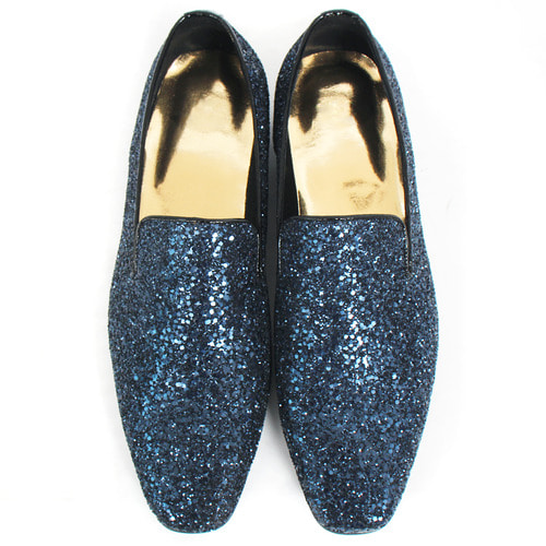 Handmade Blue Navy Crystal Glitter Encrusted Loafers 5271