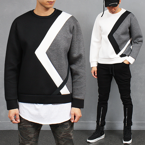 Contrast Color Styling Neoprene Jersey Sweatshirt