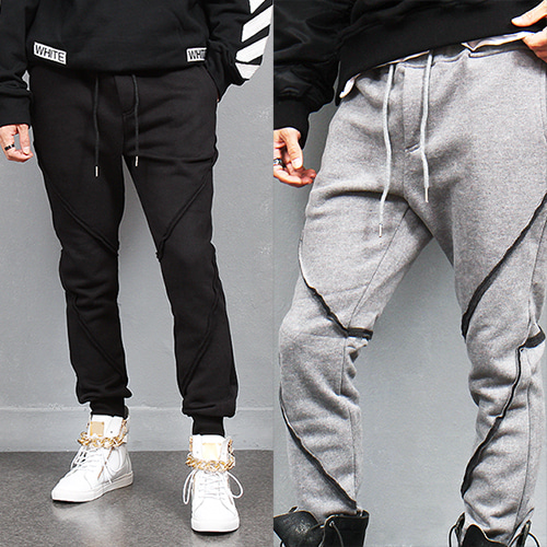 Vintage Style Diagonal Line Winter Jogger Pants
