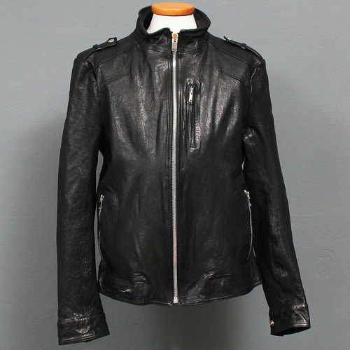Band Neck Collar Zipper Pocket Lambskin Leather Rider Jacket