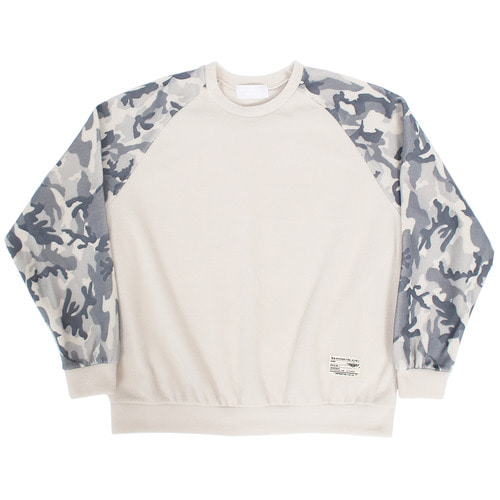 Fleece Camouflage Pattern Sleeve Sweatshirt