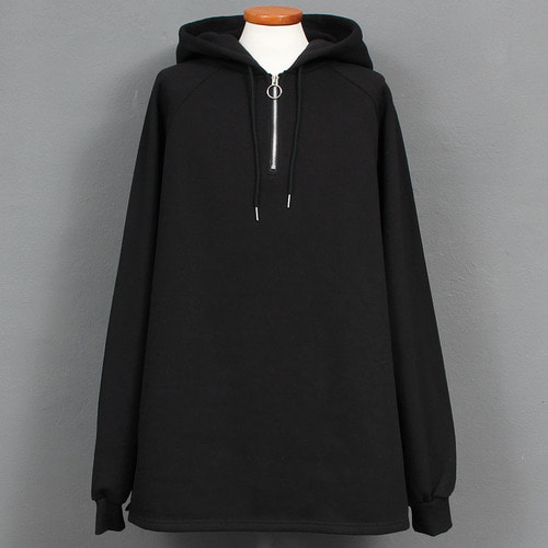 Loose Fit Split Side Black Anorak Boxy Hoodie